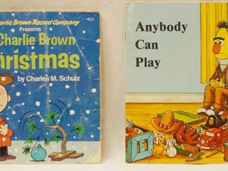 Vintage 7  Record s w  Book  A Charlie Brown Christmas     Anybody Can Play   Sesame Street