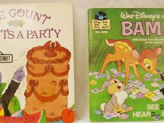 2  Vintage 7  Record w Book   Walt Disney s   Bambi     Sesame Street   The Count Count s A Party