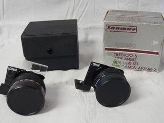 lenmar  AUX35C  Telephoto   Wide Angle AUX  len Set For Canon AF35M 2 w Case   Original Box