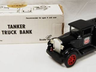 75th Anniversary Phillips 66 Tanker Truck Bank w  locking Coin Bank  w  Key   Die Cast Metal