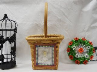 lot of Decor Items   Bird Cage  Wicker Basket   Christmas Topper
