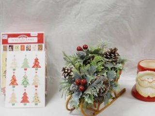 lot of Christmas Items   Basket  Christmas Cards  Decor   More