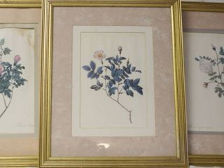 lot of 3 Flower Framed Art Wall Pictures