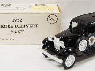 1932 Panel Delivery Bank  Ethyl  locking Coin Bank w  Key   Die Cast Metal