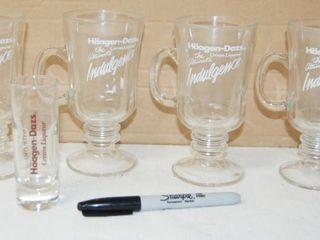 Haagen Dazz liquor  4  Glass Mugs and  1  Shot Glass