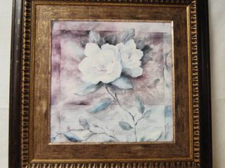 Beautiful Flower Framed Art Decor approx 2 ft x 2ft   pretty frame