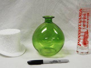 Milk Glass Hat  Vase  a Attitude Adjuster Shot Glass