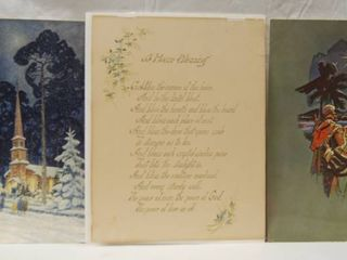 lot of 3 Religious Art Prints   Very Cool    HOUSE BlESSING  Prayer   More