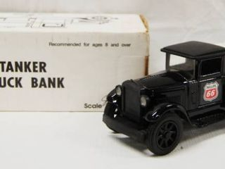 Collectible Phillips 66  Tanker Truck Bank   SUPER ClEAN   UNlEADED GASOlINES  Die Cast Metal  locking Coin Bank w Key