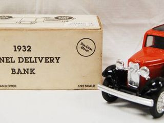 Collectible Phillips 66  1932 Panel Delivery Bank  Phillips Petroleum Company  Die Cast Metal  locking Coin Bank w Key