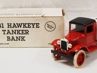 Collectible  1931 Hawkeye Tanker Bank  Die Cast Metal  locking Coin Bank with Key  w  Original Box  MOBIl