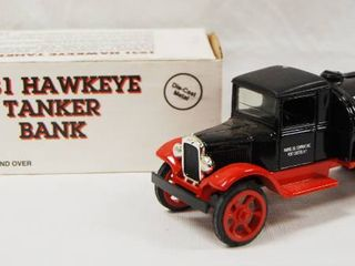 Collectible 1931 Hawkeye Tanker Bank   Marvel Mystery Oil  Die Cast Metal  locking Coin Bank w Key