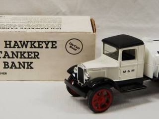 Collectible  1931 Hawkeye Tanker Bank    M   M Oil Co  Die Cast Metal  locking Coin Bank w Key