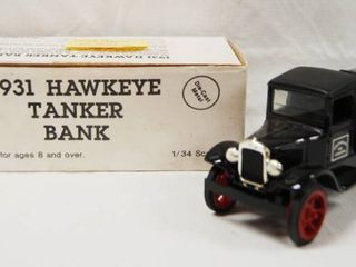 Collectible  1931 Hawkeye Tanker Bank    Premier Gasoline    Die Cast Metal  locking Coin Bank with Key
