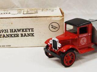 Collectible  1931 Hawkeye Tanker Bank    Total Petroleum  Inc    Die Cast Metal  locking Coin Bank w Key