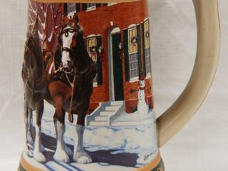 Collectible  Budweiser Mug  w  3D Horses   Hometown Holiday  Holiday Stein Collection 1993
