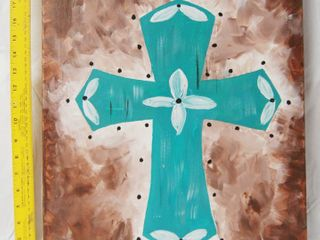 Very Beautiful Cross Painting   approx  20x16  See Photos