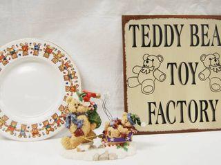 Christmas Decor   Bear Plate  Bear Figurine  and Metal Teddy Bear  Sign