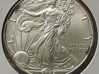 2004 Silver Eagle Dollar   1 oz of  999 fine Silver