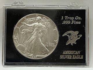 1987 American Eagle Silver Dollar   1 oz of  999 fine Silver