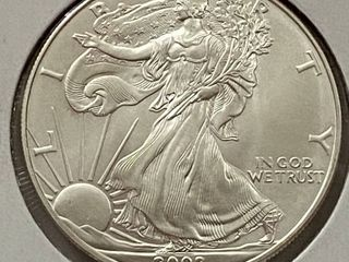 2002 Silver Eagle Dollar   1 oz of  999 fine Silver
