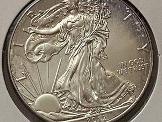 2012 Silver Eagle Dollar   1 oz of  999 fine Silver