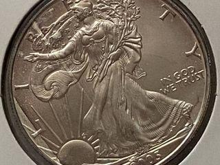2005 Silver Eagle Dollar   1 oz of  999 fine Silver
