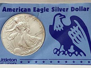 1998 Silver Eagle Dollar   1 oz of  999 fine Silver