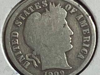 1909 Barber Silver Dime