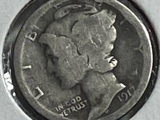 1917 Silver Mercury Dime
