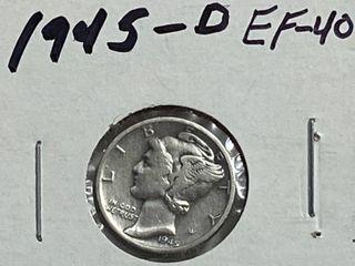 1945 D Silver Mercury Dime