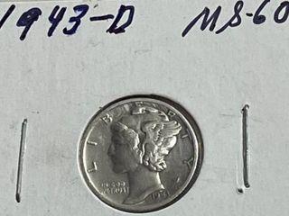 1943 D Silver Mercury Dime