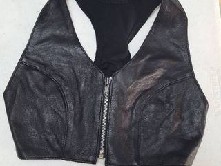 leather front halter top  size 5