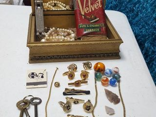 Jewelry box   contents  Cufflinks  arrowheads  skeleton keys Marbles and more