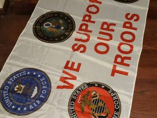 Support our troops flag  Approximately 3 ft by 4 1 2 foot