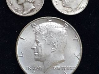 3 Assorted silver coins  Mercury Dime  Roosevelt dime   Kennedy half dollar
