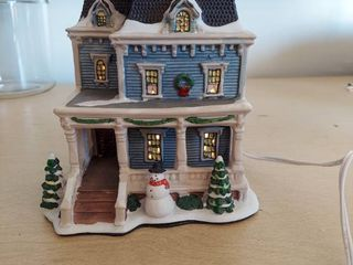 lighted Snow Covered House Decor