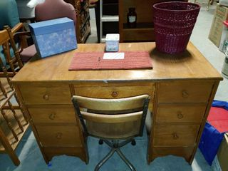 Vintage Wooden Children s Desk with Chair and More    Also Includes   Cloth Notepad Holder  Greeting Card Sorter Full of Unused Greeting Cards  Small Storage Tin    a Red Wastebasket   Desk   30  T x 43  W x 20  D