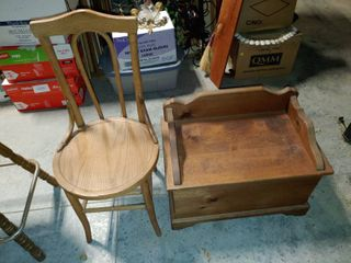 Vintage Wooden Children s Chair and Toy Chest   Contents of Toy Chest Included   Toy Chest   15  T x 25 5  W x 15  l