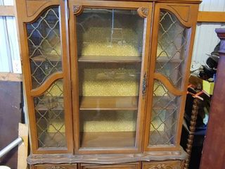 Vintage China Display Cabinet   Three Tiered Display Case With 4 Drawers Underneath   81  T x 51  W x 14  D