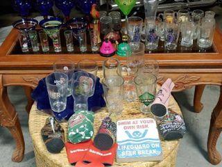 large lot Of Barware Items   Various Glasses  Decor Items  Koozies   More