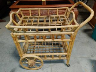 Bamboo Serving Cart   Removable Serving Tray   34  T x 19  W x 35  l