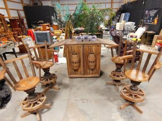 Tropical Themed Teakwood Bar with 4 Chairs  2 Tall Faux Palm Trees and Barware Items   Moderate Damage to Bottle Holder   Bar  Closed    40  x 41  x 29    Chairs   29  W x 48  Tall