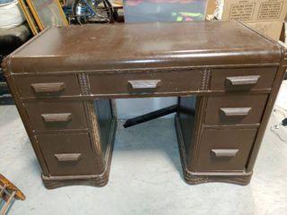 Vintage large Brown Wooden Desk   7 Shelves Total   45  W x 22  l x 31  T