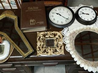 lot of 10 Home Decor Items   Mirrors  Clocks  Bible   More