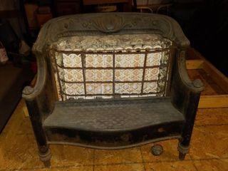 Antique Porcelain Cast Iron Fireplace Heater Insert   23  x 21 5  x 8