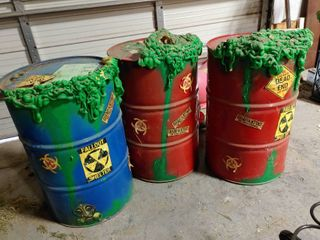 lot of 3  Toxic Waste  55 Gallon Drums   Spray Painted Foam Insulation and Stickers   34  T x 23  W