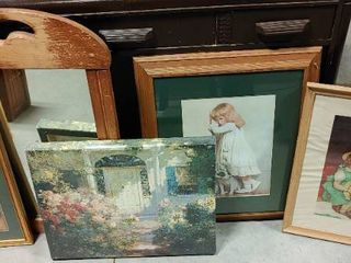 lot of 4 Framed Paintings Prints and a Mirror   Mirror   30  T x 21  W