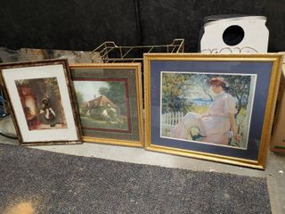 lot of 3 large Framed Paintings   lady On White Fence   36  W x 32  T