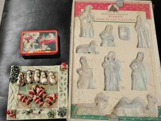 lot of 3 Christmas Items   Double Deck of Coca Cola Playing Cards  10 Piece Porcelain Nativity Set    A Tic Tac Toe Set